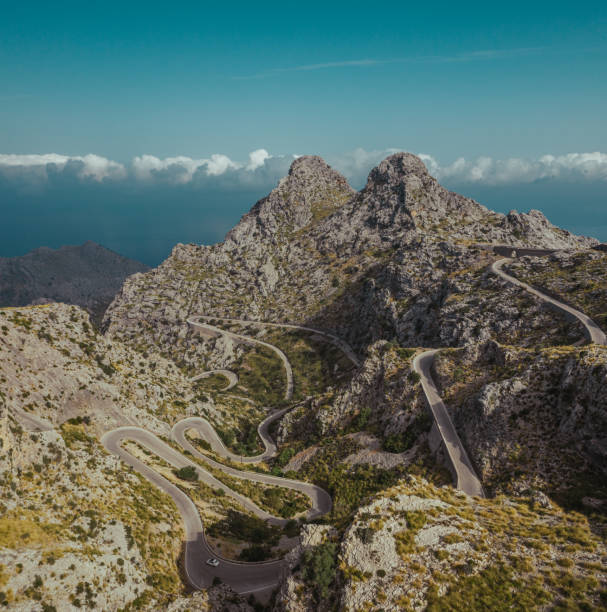 Serpentine perfect bicycle track on Mallorca island. stock photo