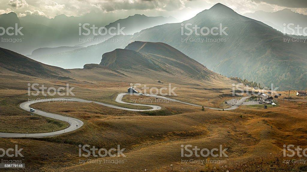 Serpentine road at Passo Giau, Dolomites, Italy stock photo
