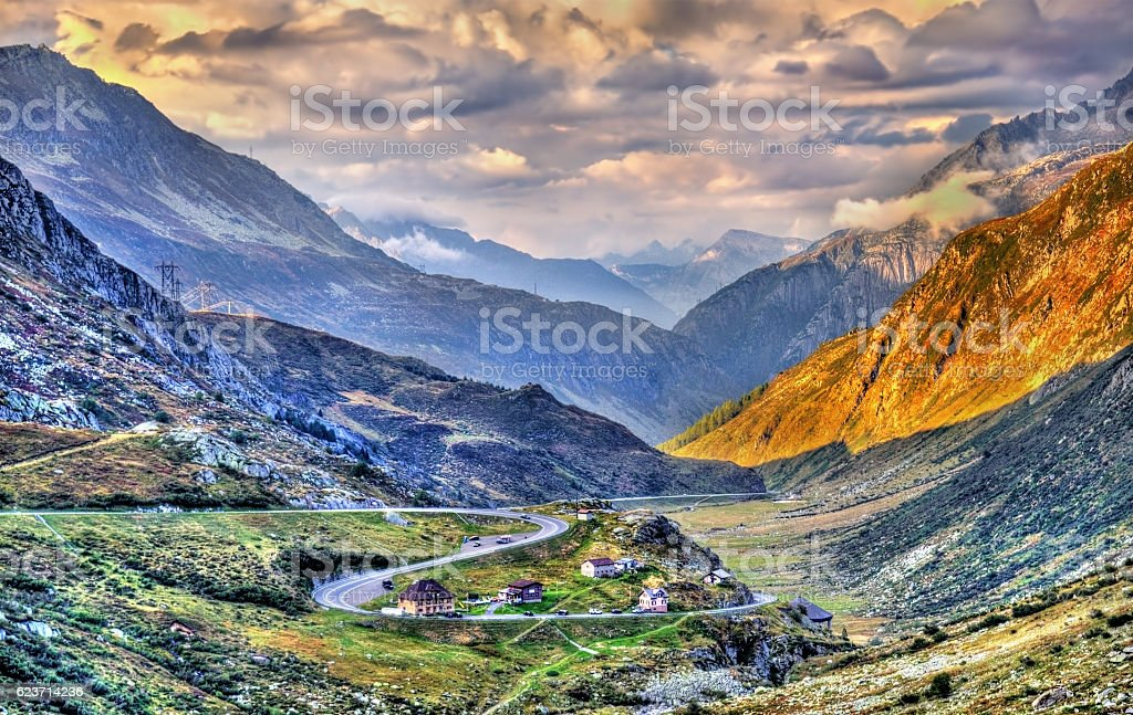 Serpentine road to the St. Gotthard Pass in the Swiss stock photo