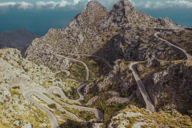 Serra de Tramontana serpentine road panorama. Mallorca, Spain. stock photo