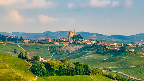 948424058 istock photo Serralunga d'Alba in the Langhe, a hilly area mostly based on vine cultivation and well known for the production of Barolo wine. Province of Cuneo, Piedmont, Italy 948424058