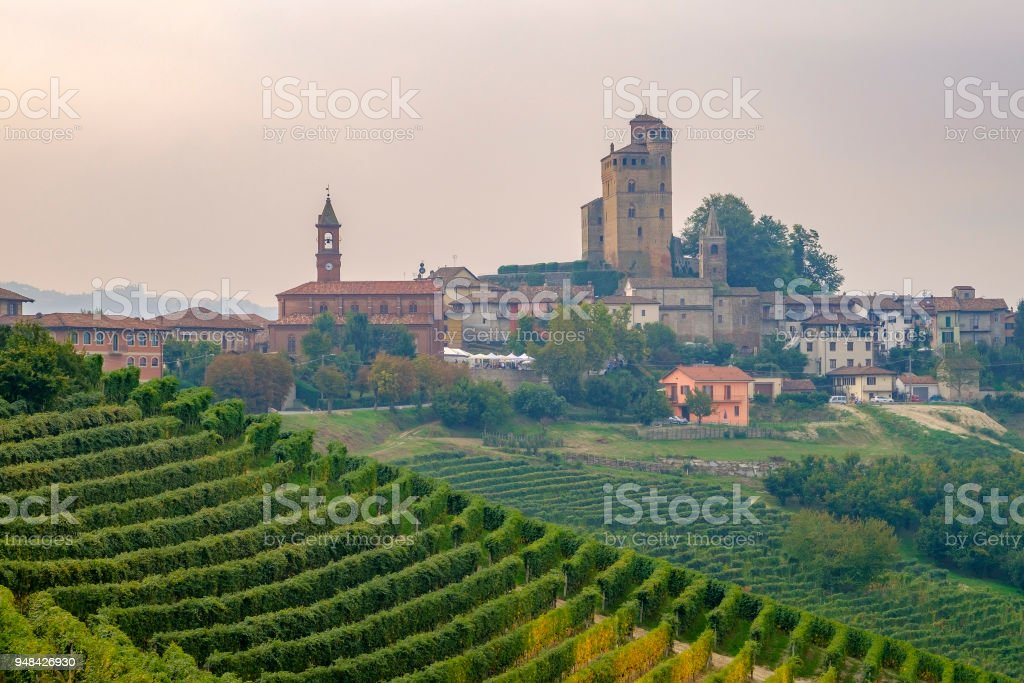 Serralunga d'Alba in the Langhe, a hilly area mostly based on vine cultivation and well known for the production of Barolo wine. Province of Cuneo, Piedmont, Italy stock photo