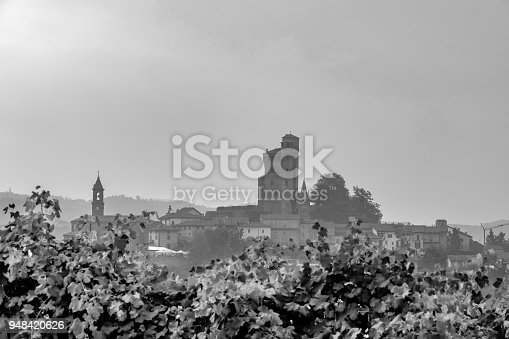 948424058istockphoto Serralunga d'Alba seen among the vineyards in the Langhe hill area, Cuneo province Piedmont, northern Italy 948420626