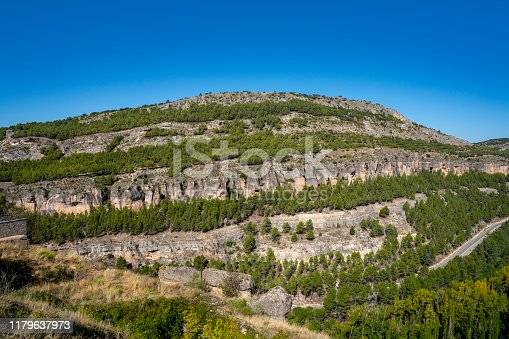 Cuenca Serrania view from Miradores del Jucar river in Spain Castil La Mancha