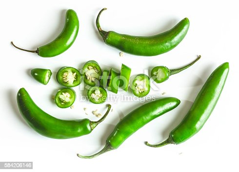 Serrano chili peppers composition isolated on white background.