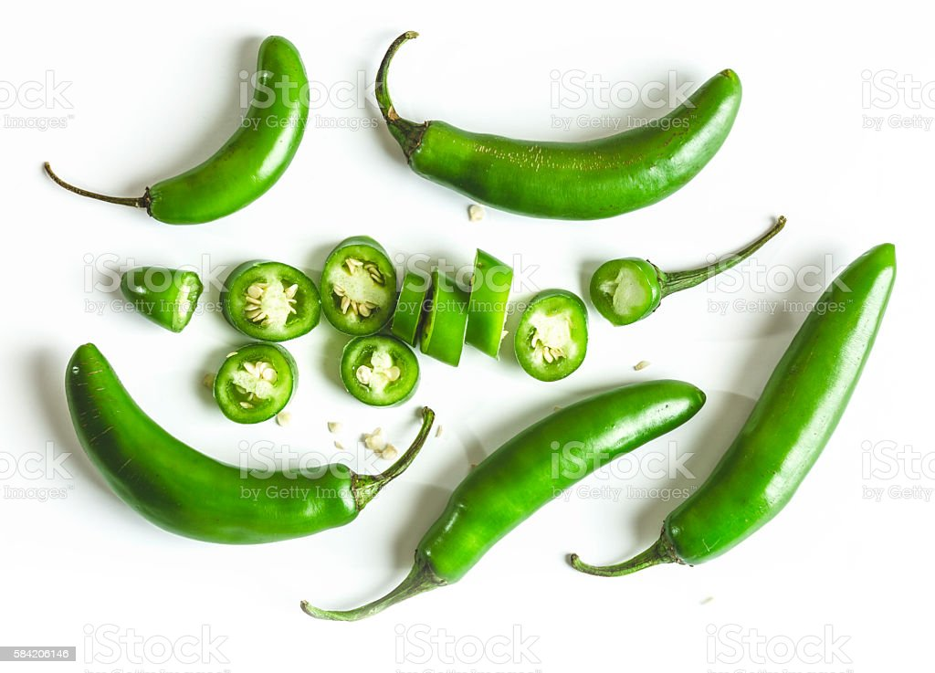 Serrano Chili Peppers on White Background stock photo