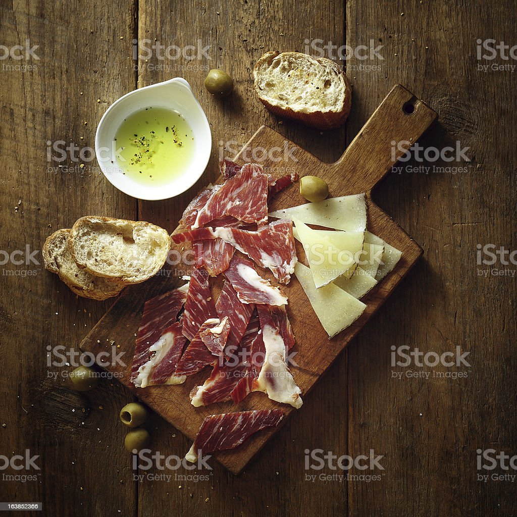 serrano ham and tapas stock photo