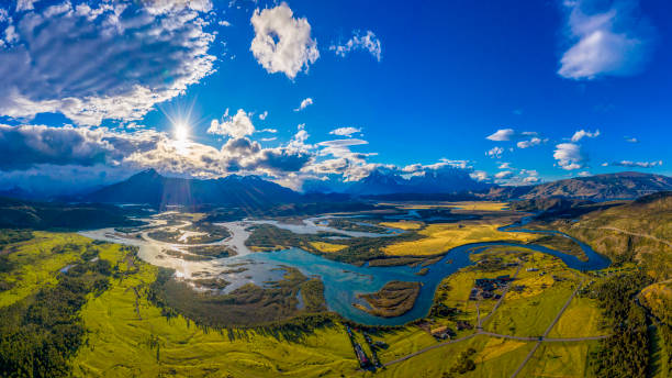 Serrano River with view to Cerro Torre, Torres del Paine, Chile stock photo