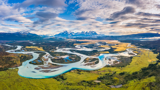 Chile, Patagonia - Chile, South America, Torres del Paine National Park, Andes, aerrial view