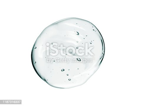 Serum texture, clear cosmetic liquid gel with bubbles drop isolated on white background. Transparent cream, mosturizer close-up. Beauty product macrophotography