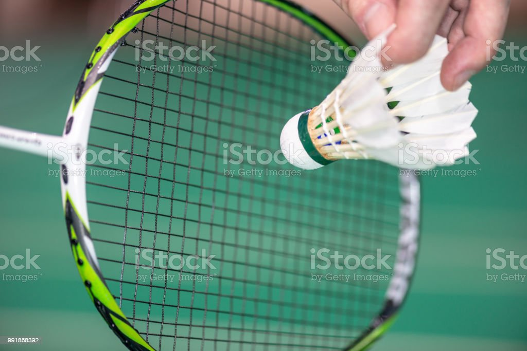 serve badminton with a shuttlecock – zdjęcie