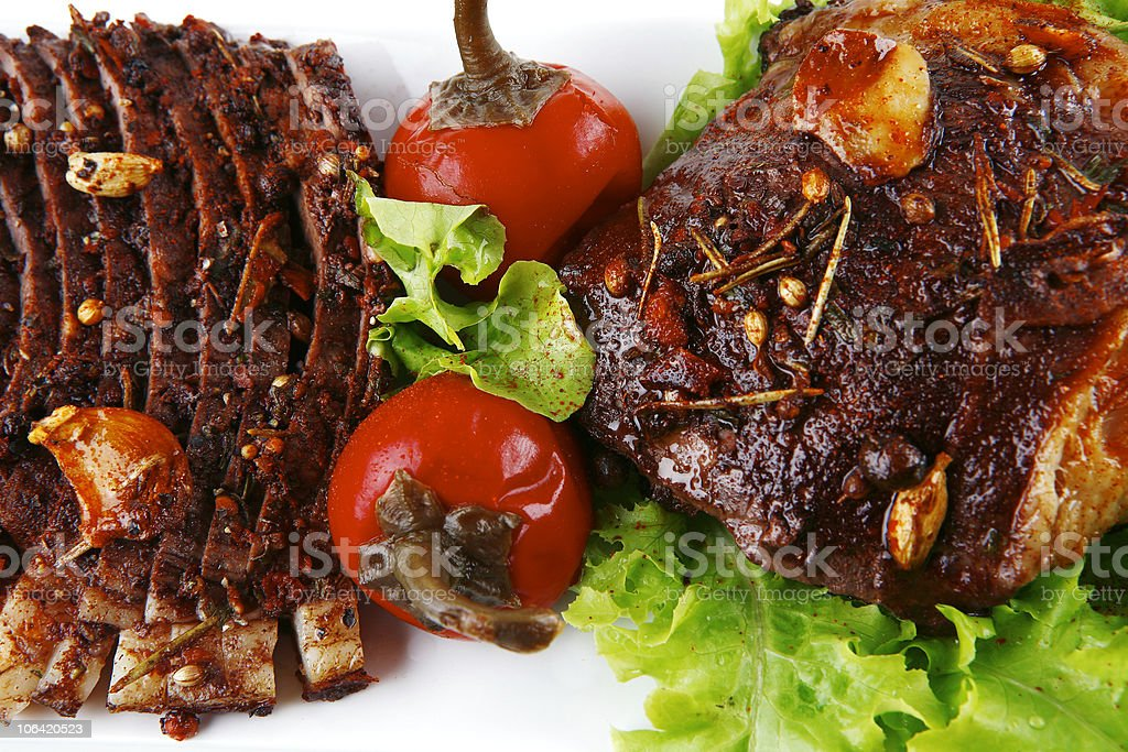 served beef steak on plate royalty-free stock photo