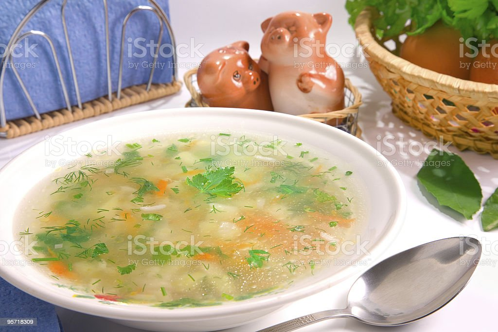 Served chicken rice soup royalty-free stock photo