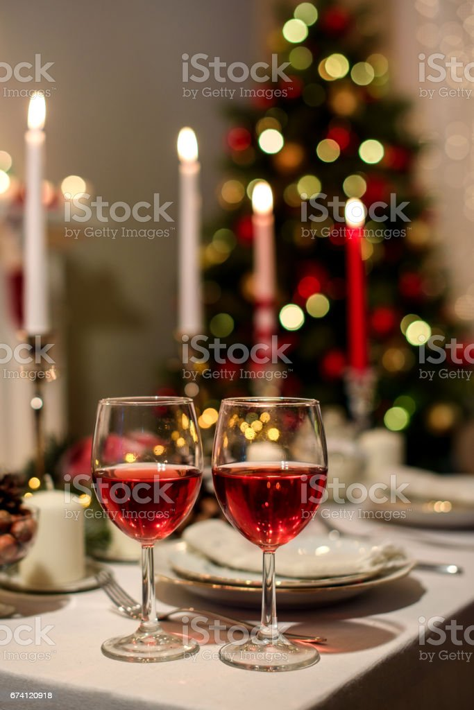served holiday table with two wine glasses 免版稅 stock photo