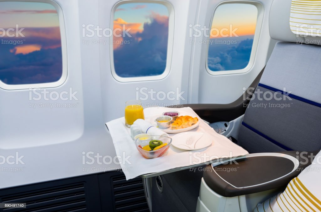 Served Lunch in Aircraft stock photo