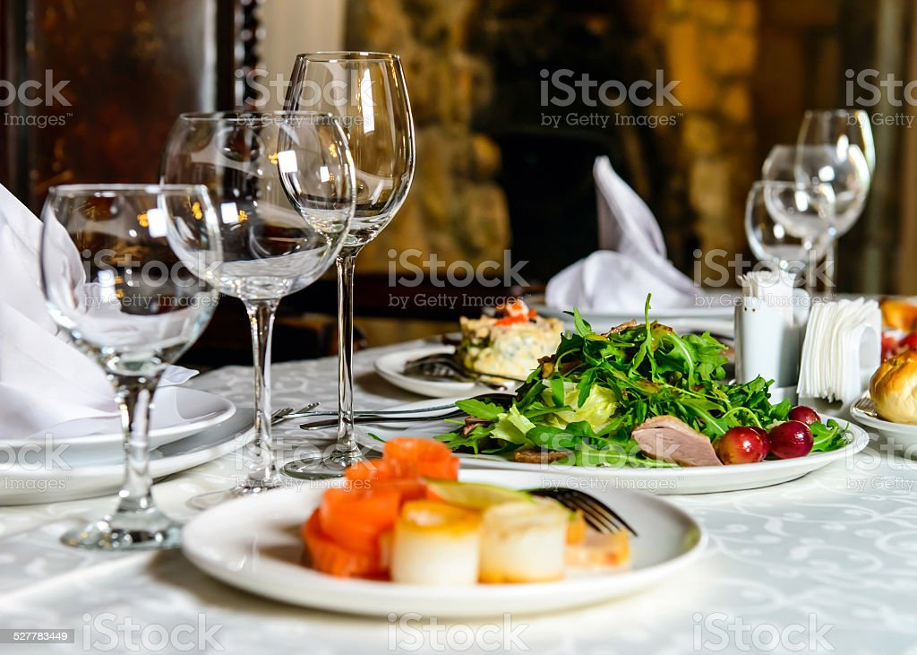 Served restaurant table stock photo
