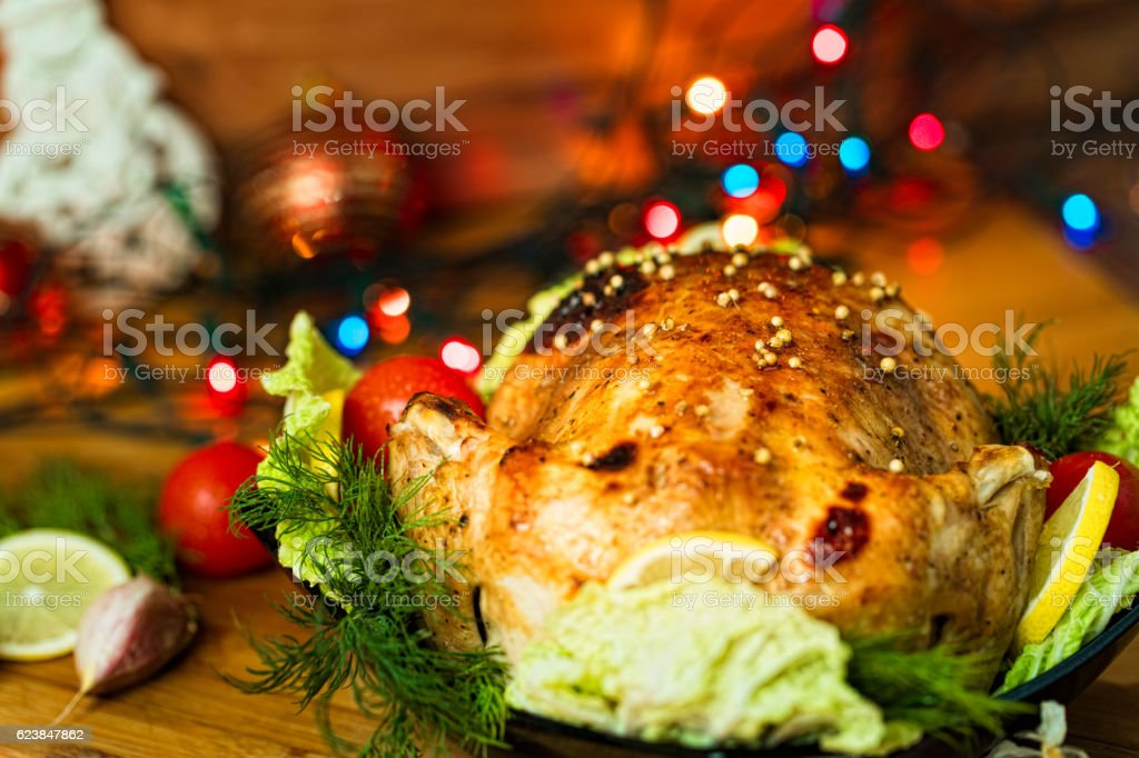 Served roasted chiken stock photo