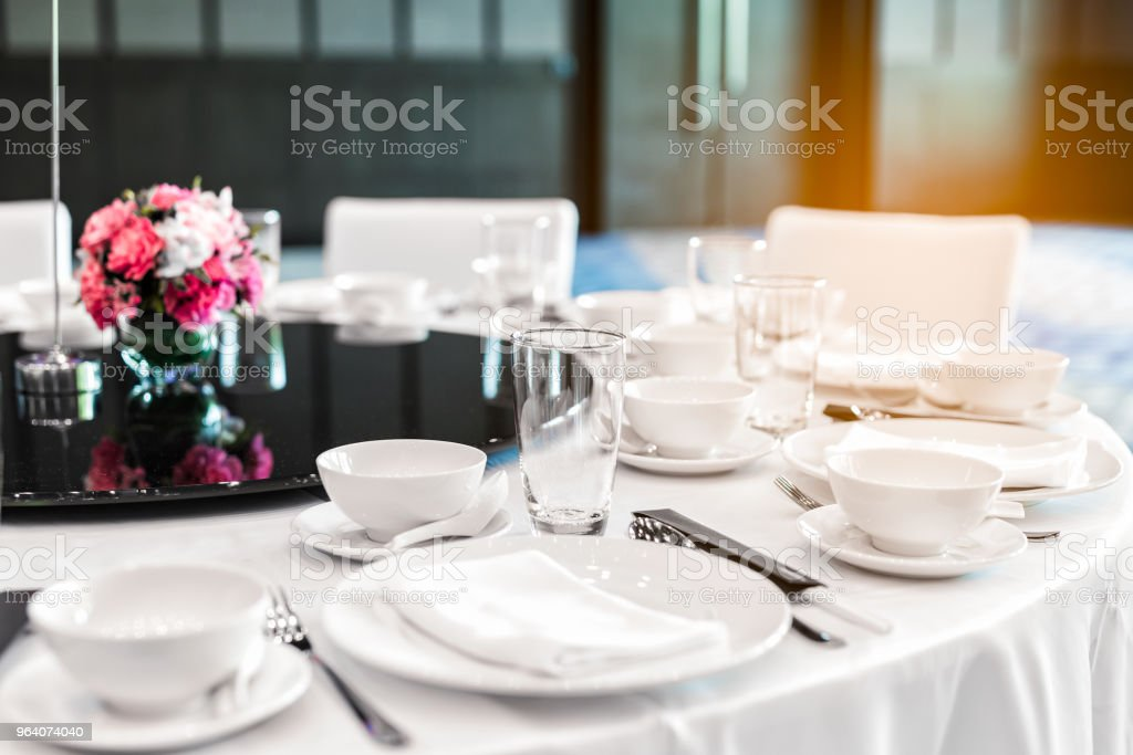 Served round table in restaurant - Royalty-free Banquet Stock Photo
