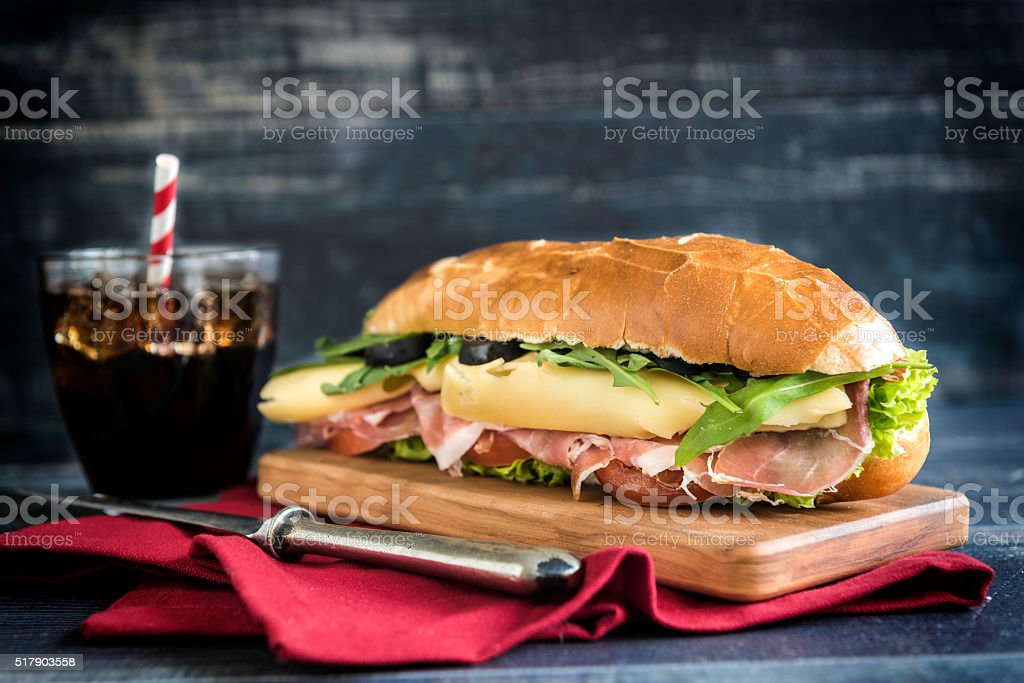 Served submarine sandwich stock photo