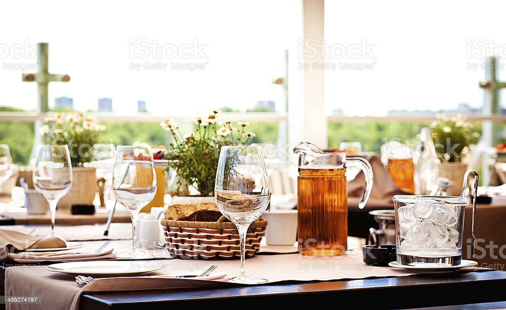 Served table at summer cafe - Royalty-free Bread Stock Photo