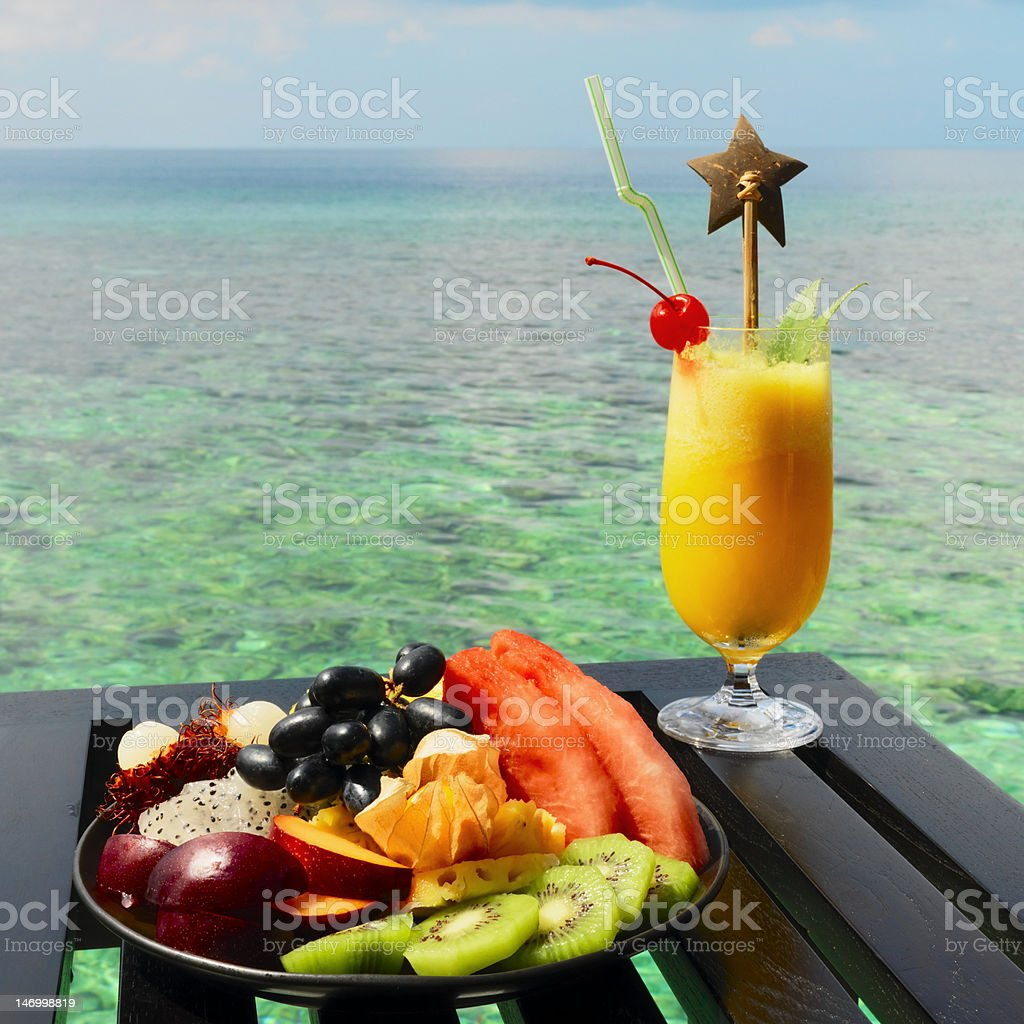 Served table at tropical resort royalty-free stock photo