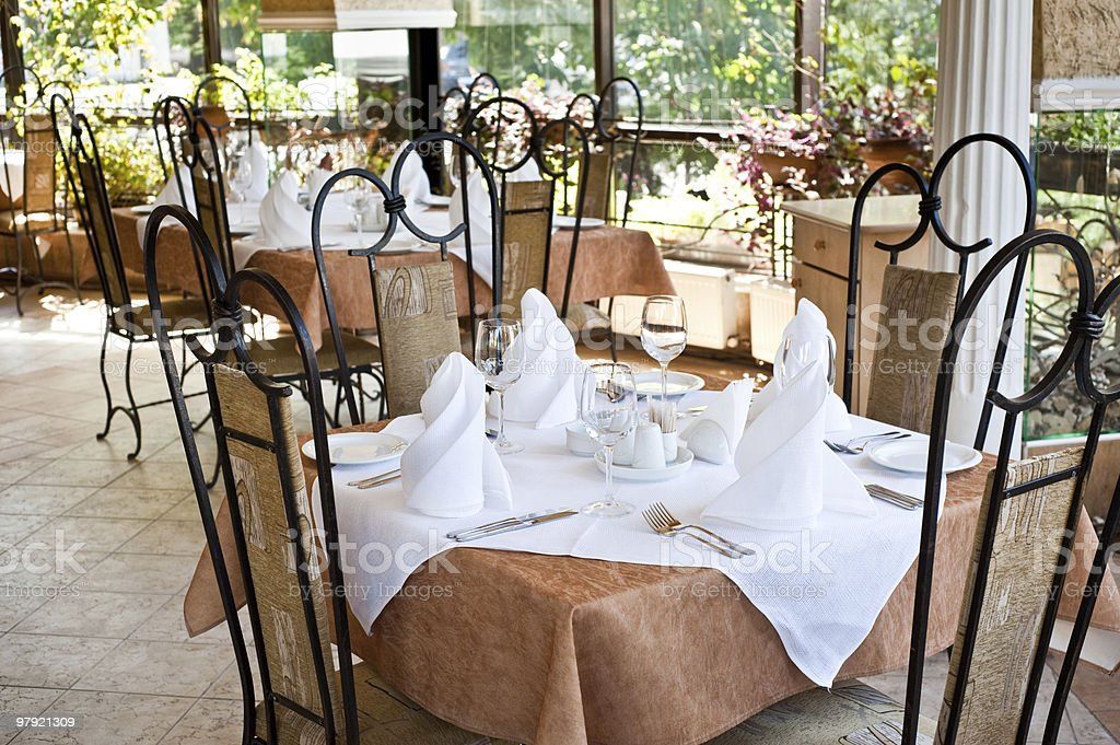 served table in restaurant royalty-free stock photo
