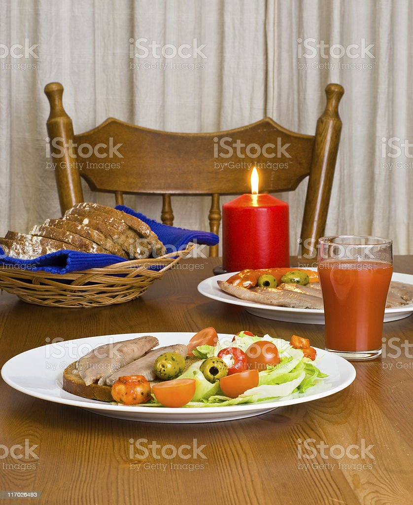 Served table with candle royalty-free stock photo