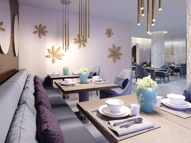 mit luxuriösen möbel in modernem design tische im restaurant hotels serviert. - esszimmer buffet stock-fotos und bilder