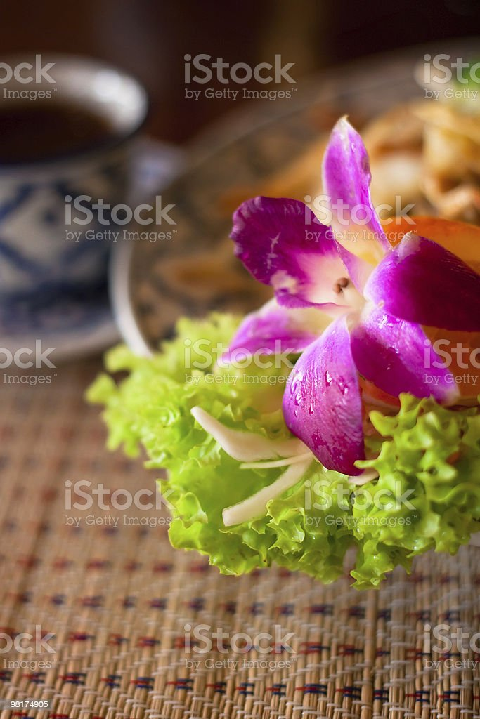 Served thai noodles and a cup of tea royalty-free stock photo