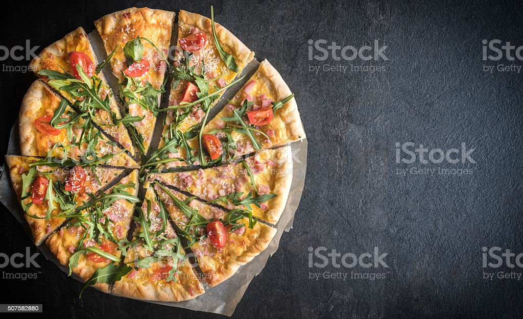 Served vegetarian pizza stock photo