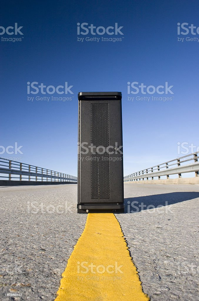 Server cabinet in the middle of road stock photo
