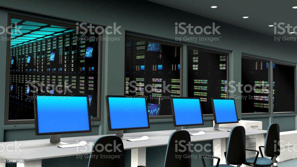 Server control room in data center