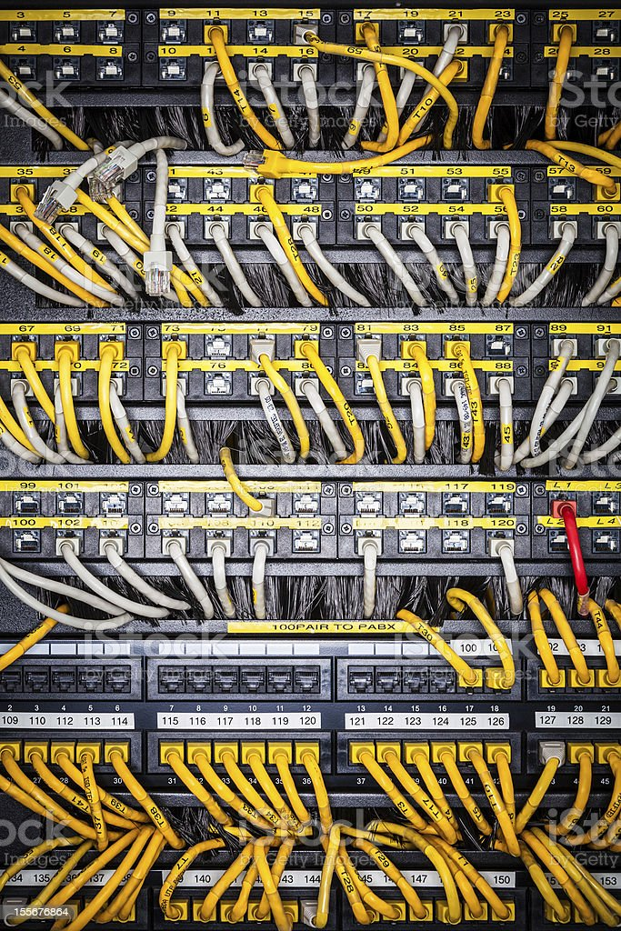 Server front side showing wiring royalty-free stock photo