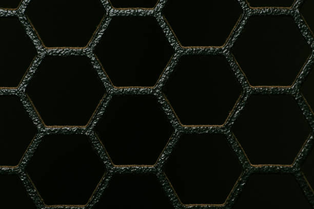 Server Rack Front Grill Metal Honeycomb Texture stock photo