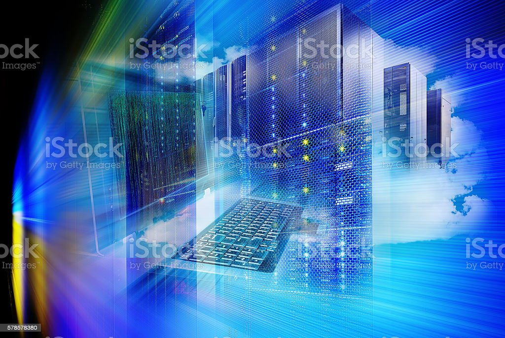 Server Repository. control terminal supercomputer cloud storage. abstraction picture technologies stock photo