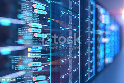 istock server room 3d illustration with node base programming data  design element. 917964248
