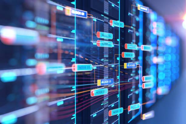 server raum 3d illustration mit knoten base programmierung daten design-element. - datenknoten stock-fotos und bilder