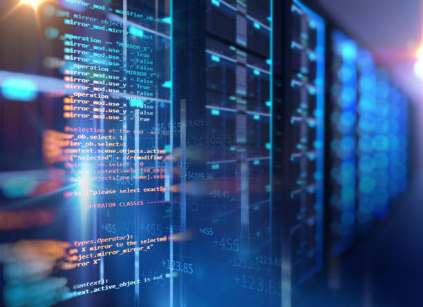 プログラミング データをサーバー ルームの 3 d 図は、要素をデザインします。 ストックフォト