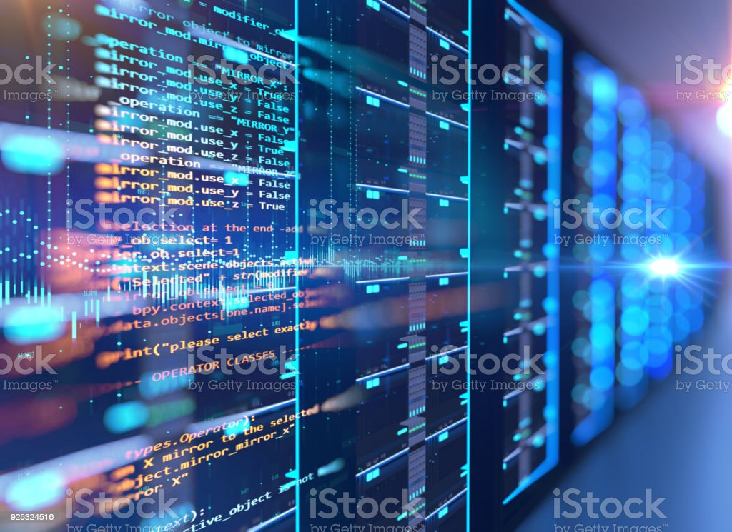server room 3d illustration with programming data  design element. stock photo
