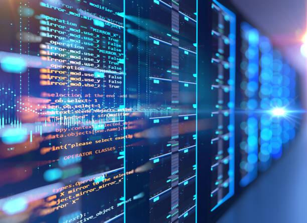 élément de conception serveur salle 3d illustration avec les données de programmation. - commutateur photos et images de collection