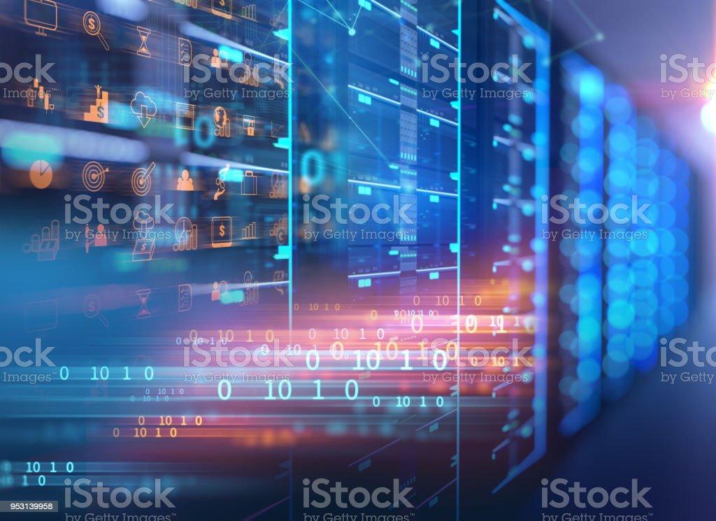 server room 3d illustration with programming data  design element. stock photo