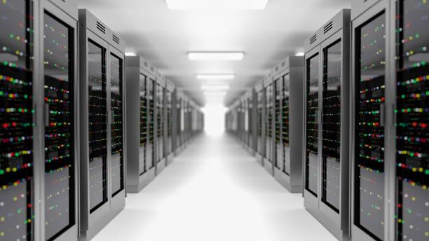 server room datacenter. back-up, hosting, mainframe, farm en computerrek met opslaginformatie. - datacenter stockfoto's en -beelden