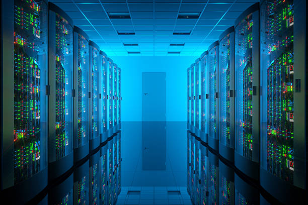 Server room in data center. Telecommunication equipment stock photo