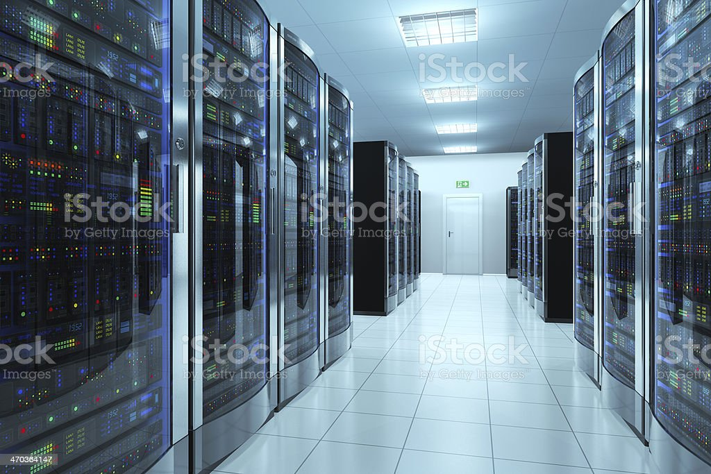 Server room in datacenter stock photo