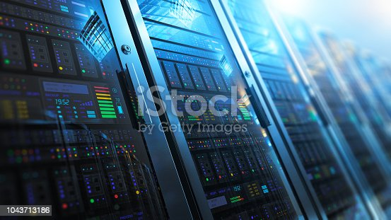 Modern web network and internet telecommunication technology, big data storage and cloud computing computer service business concept: 3D render illustration of the macro view of server room interior in datacenter with selective focus effect