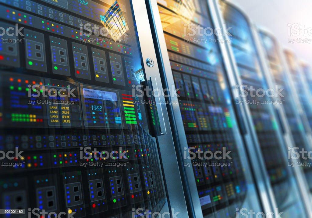 Server room interior in datacenter stock photo
