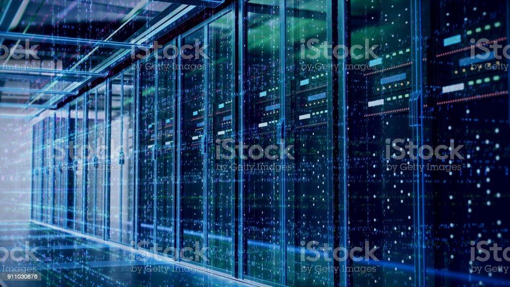 Sala de servidores o procesamiento de servidor computers.3d. foto de stock libre de derechos
