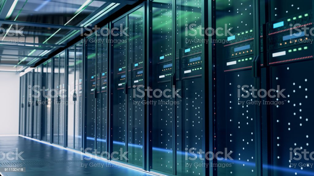 Server room or server computers.3d rendering. stock photo