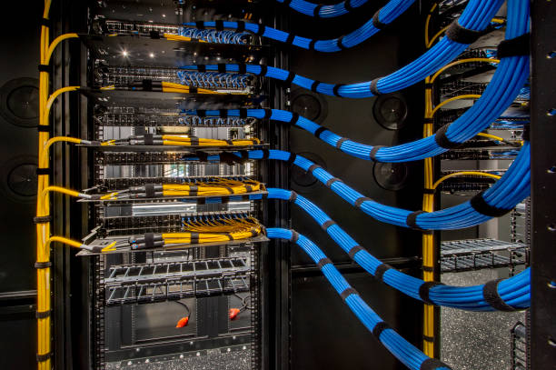 Server Room Wiring stock photo