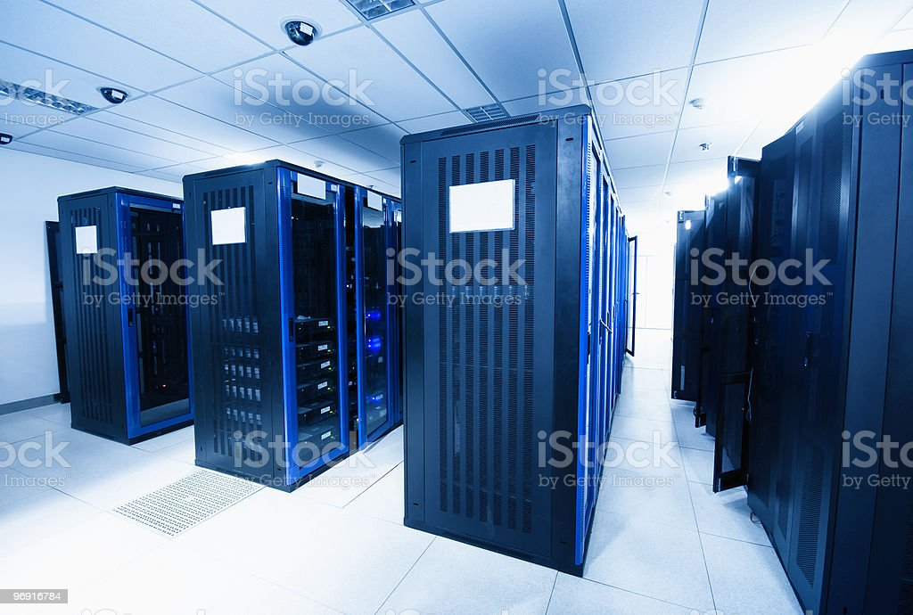 Server room with black servers royalty-free stock photo